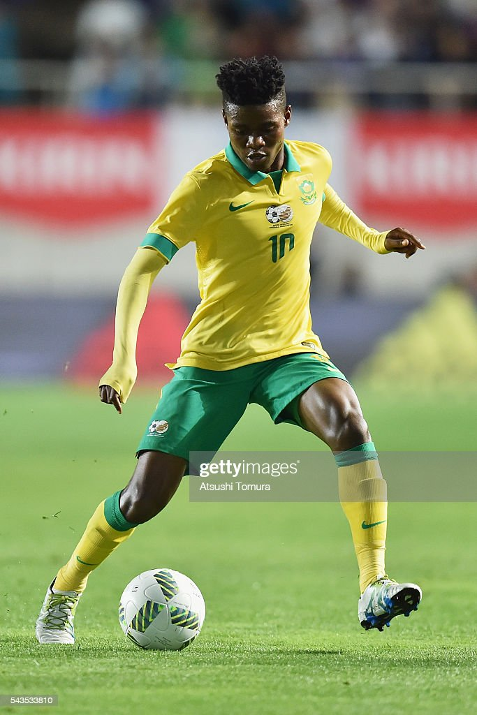 Menzi Masuku of South Africa in action during the U-23 international friendly match between Japan and South Africa at the Matsumotodaira Football Stadium on June 29, 2016 in Matsumoto, Nagano, Japan.