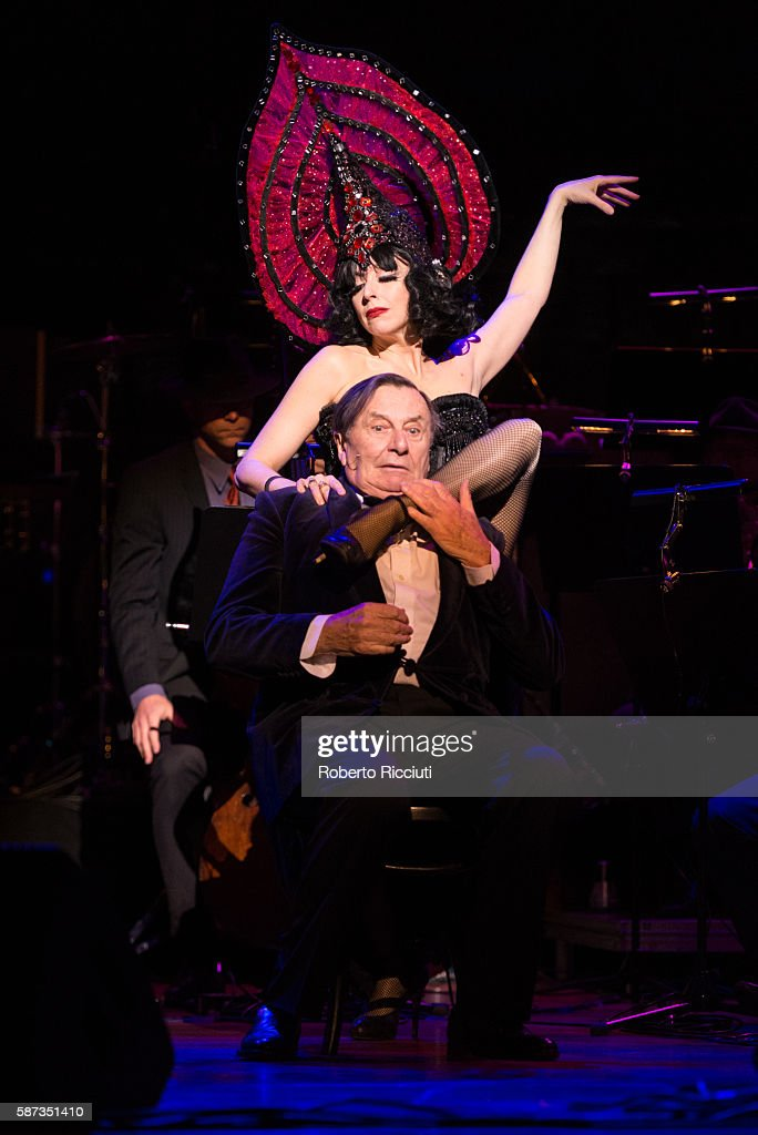Meow Meow and Barry Humphries perform on stage during the 'Barry Humphries' Weimar Caberet' dress rehearsal at The Edinburgh International Festival...