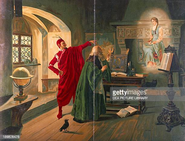 Mephistopheles with an image of Margaret ready to start spinning persuading Faust to buy her services in exchange for his soul scene taken from the...