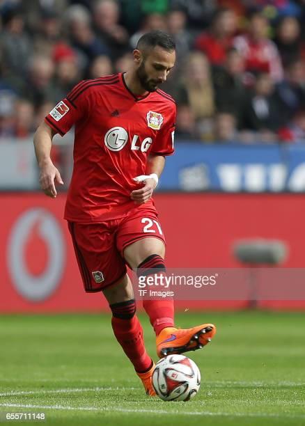 Ömer Toprak of Leverkusen controls the ball during the Bundesliga match between Bayer 04 Leverkusen and Hamburger SV at BayArena on April 4 2015 in...