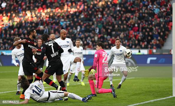 mer Toprak of Leverkusen scores the first goal during the Bundesliga match between Bayer 04 Leverkusen and Hertha BSC at BayArena on January 22 2017...