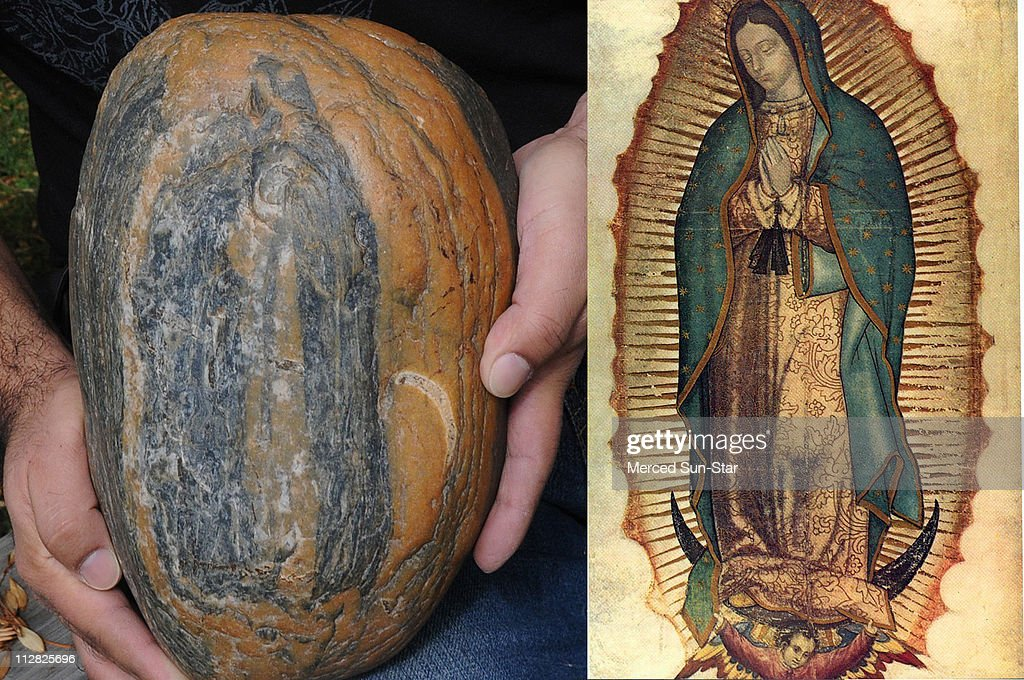 Merced resident David Nunez holds a rock with a pattern that he says looks like an image of the Virgin of Guadalupe shown at right in a 16thCentury...