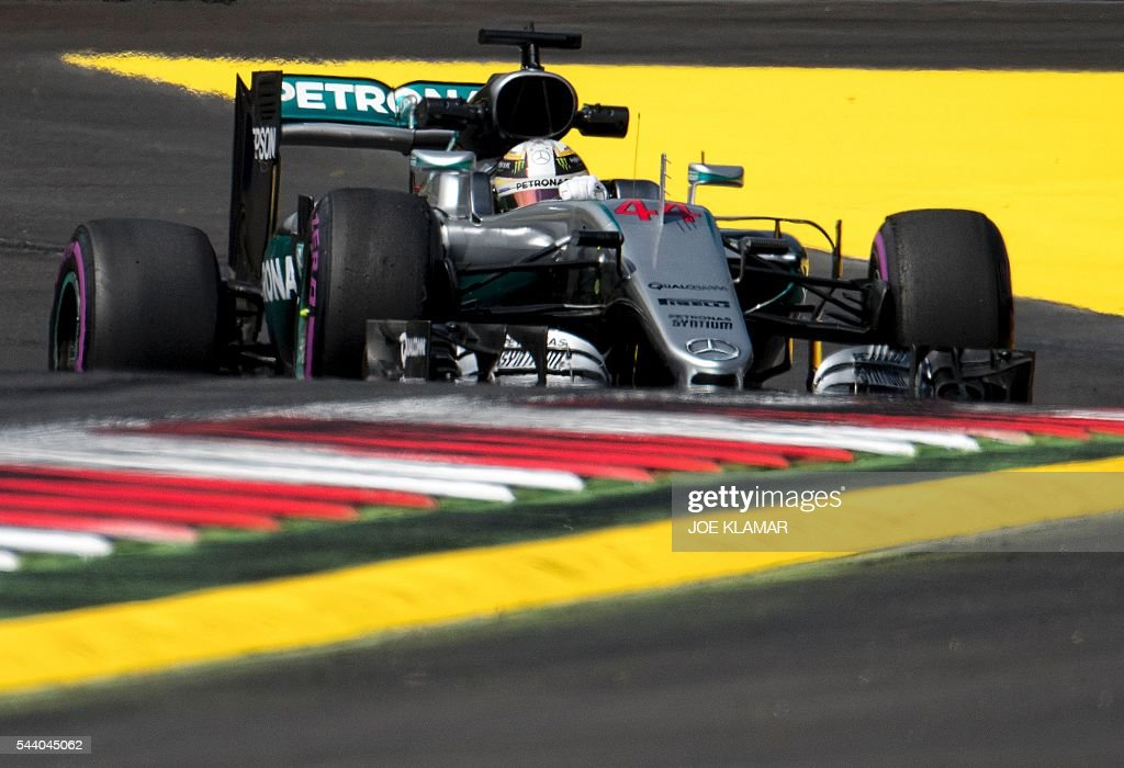 Mercedes AMG Petronas F1 Team British driver Lewis Hamilton drives during the first practice session of the Formula One Grand Prix of Austria at the Red Bull Ring in Spielberg, Austria on July 1, 2016. / AFP / JOE