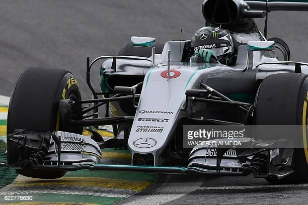 Mercedes' AMG Petronas F1 Team German driver Nico Rosberg steers his car during the third practice session of the Formula One Brazilian Grand Prix in...
