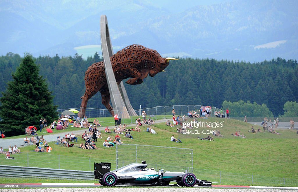 TOPSHOT Mercedes AMG Petronas F1 Team's British driver Lewis Hamilton drives during the qualifying session of the Formula One Grand Prix of Austria...
