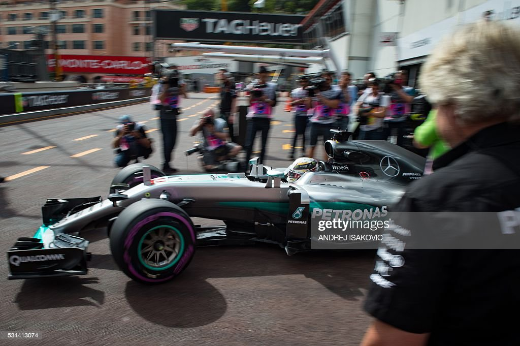 Mercedes AMG Petronas F1 Team's British driver Lewis Hamilton drives out of his box during the first practice session at the Monaco street circuit, on May 26, 2016 in Monaco, three days ahead of the Monaco Formula 1 Grand Prix. / AFP / ANDREJ