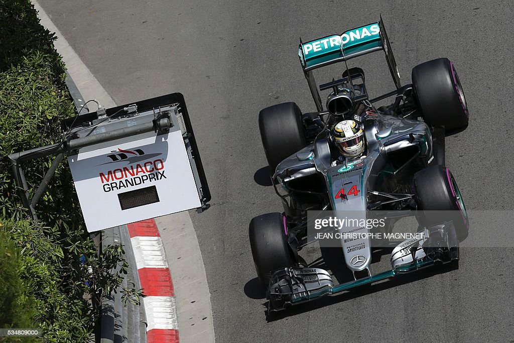 Mercedes AMG Petronas F1 Team's British driver Lewis Hamilton drives during the third practice session at the Monaco street circuit, on May 28, 2016 in Monaco, one day ahead of the Monaco Formula 1 Grand Prix. / AFP / JEAN