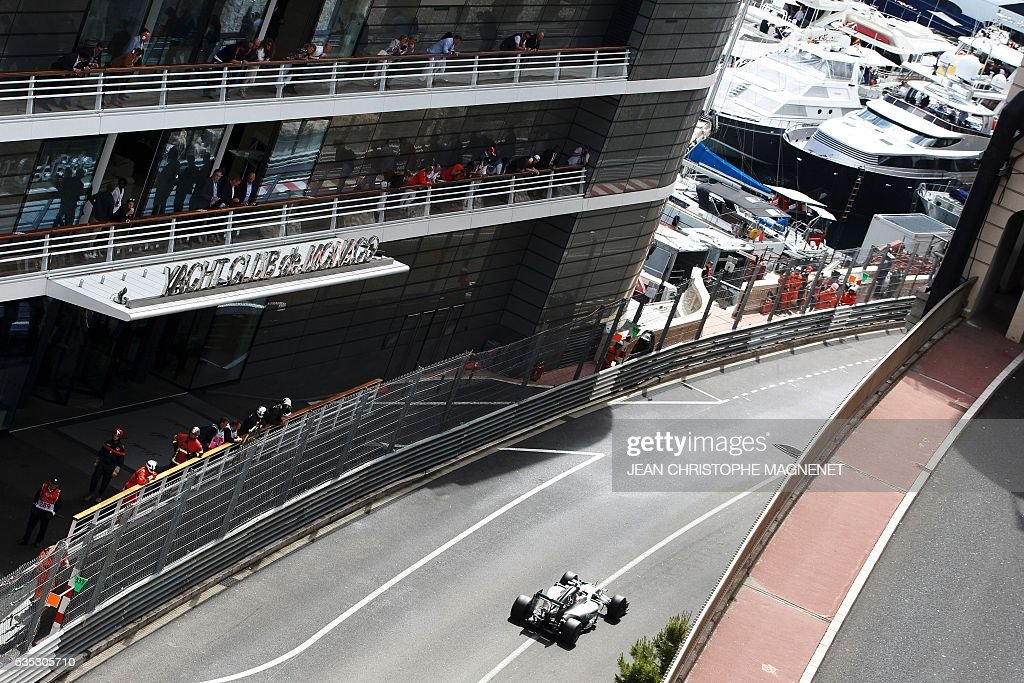 Mercedes AMG Petronas F1 Team's British driver Lewis Hamilton drives at the Monaco street circuit, on May 29, 2016 in Monaco, during the Monaco Formula 1 Grand Prix. / AFP / JEAN