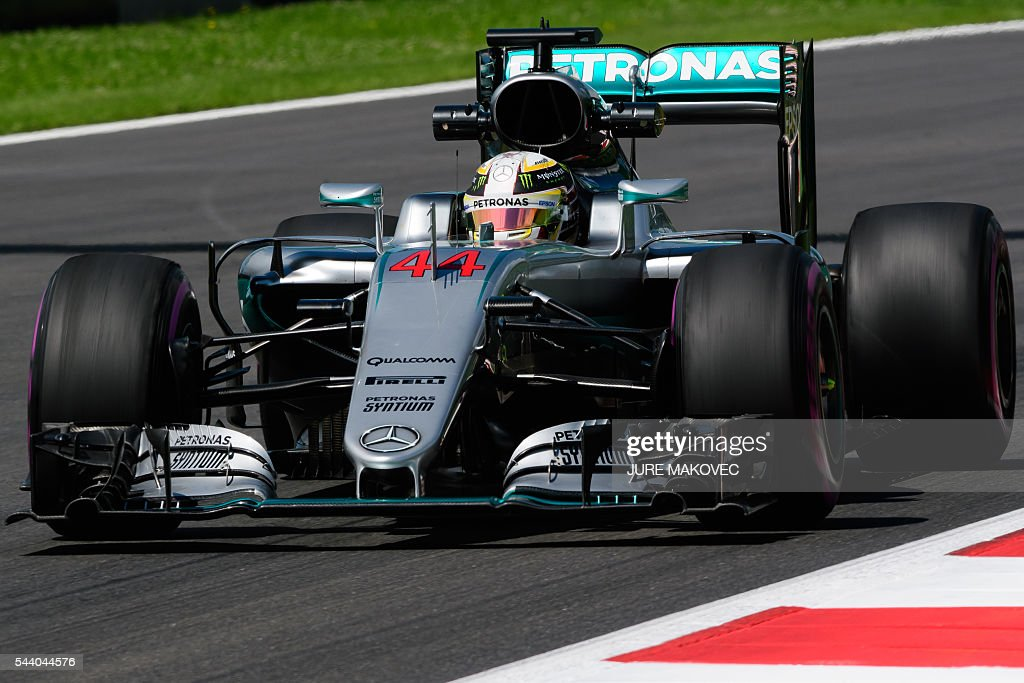 Mercedes AMG Petronas F1 Team's British driver Lewis Hamilton drives his car during the first practice session of the Formula One Grand Prix of Austria at the Red Bull Ring in Spielberg, Austria on July 1, 2016. / AFP / JURE