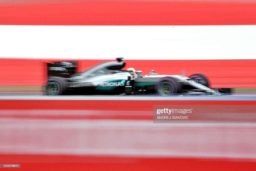 Mercedes AMG Petronas F1 Team's British driver Lewis Hamilton drives during the Formula One Grand Prix of Austria at the Red Bull Ring in Spielberg...