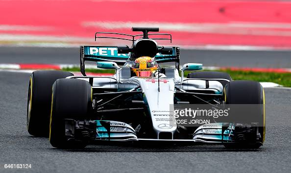 Mercedes AMG Petronas F1 Team's British driver Lewis Hamilton drives at the Circuit de Catalunya on February 28 2017 in Montmelo on the outskirts of...