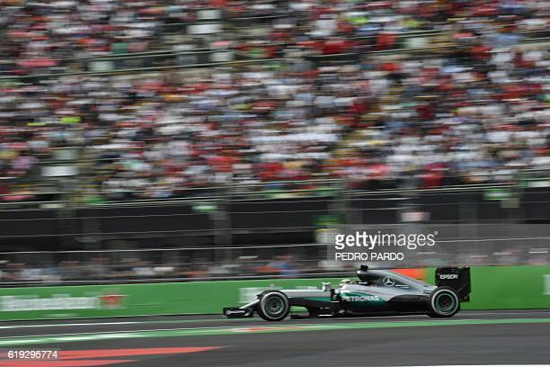 Mercedes AMG Petronas F1 Team's British driver Lewis Hamilton speeds during the Formula One Mexico Grand Prix at the Hermanos Rodriguez circuit in...