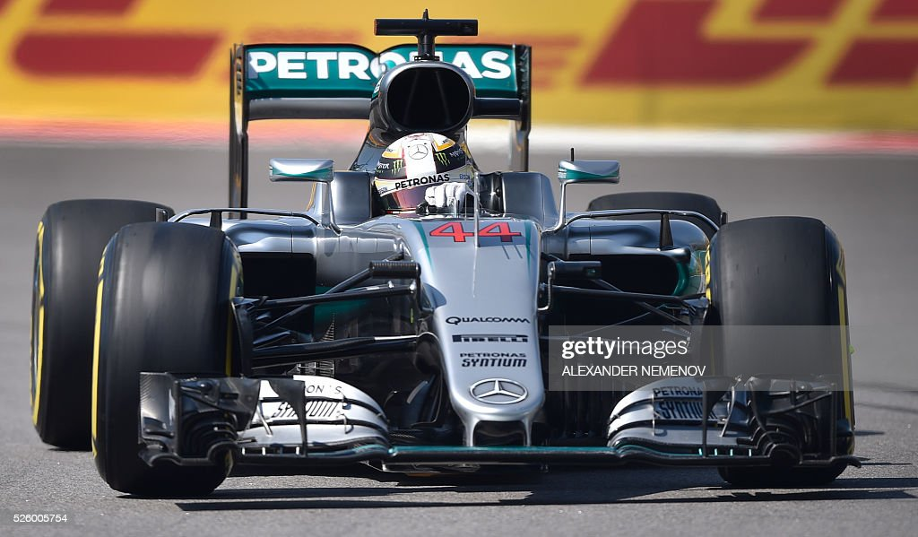 Mercedes AMG Petronas F1 Team's British driver Lewis Hamilton steers his car during the second practice session of the Formula One Russian Grand Prix at the Sochi Autodrom circuit on April 29, 2016. / AFP / ALEXANDER