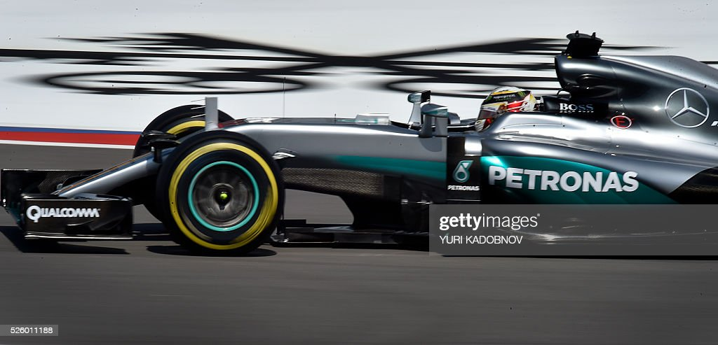 Mercedes AMG Petronas F1 Team's British driver Lewis Hamilton steers his car during the second practice session of the Formula One Russian Grand Prix at the Sochi Autodrom circuit on April 29, 2016. / AFP / YURI