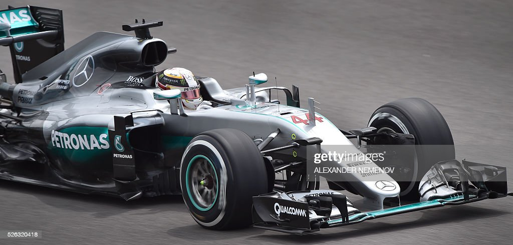 Mercedes AMG Petronas F1 Team's British driver Lewis Hamilton steers his car during the third practice session of the Formula One Russian Grand Prix at the Sochi Autodrom circuit on April 30, 2016. / AFP / ALEXANDER