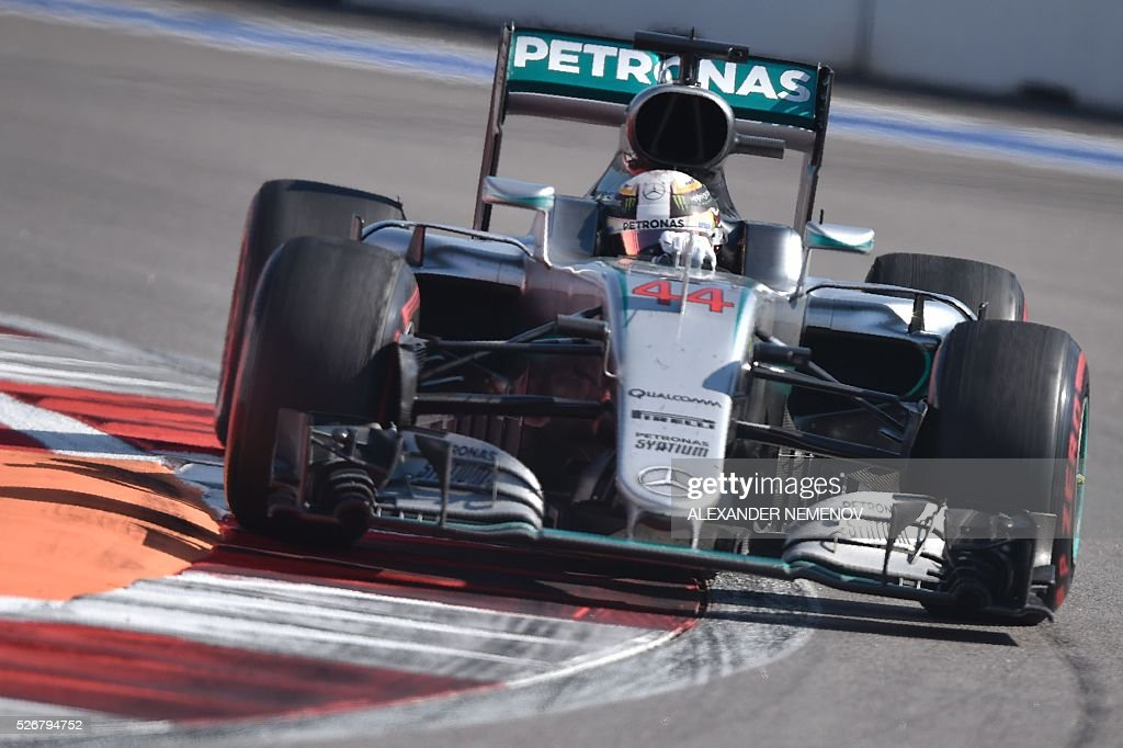 Mercedes AMG Petronas F1 Team's British driver Lewis Hamilton steers his car during the Formula One Russian Grand Prix at the Sochi Autodrom circuit on May 1, 2016. / AFP / ALEXANDER