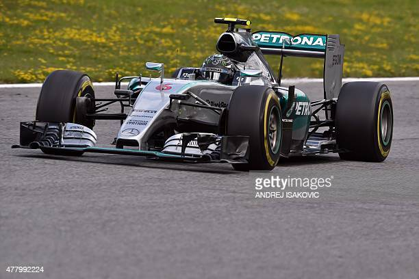 Mercedes AMG Petronas F1 Team's German driver Nico Rosberg competes at the Red Bull Ring in Spielberg Austria on June 21 during the Austrian Formula...