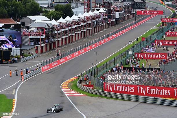 Mercedes AMG Petronas F1 Team's German driver Nico Rosberg drives at the SpaFrancorchamps circuit in Spa on August 23 during the Belgian Formula One...