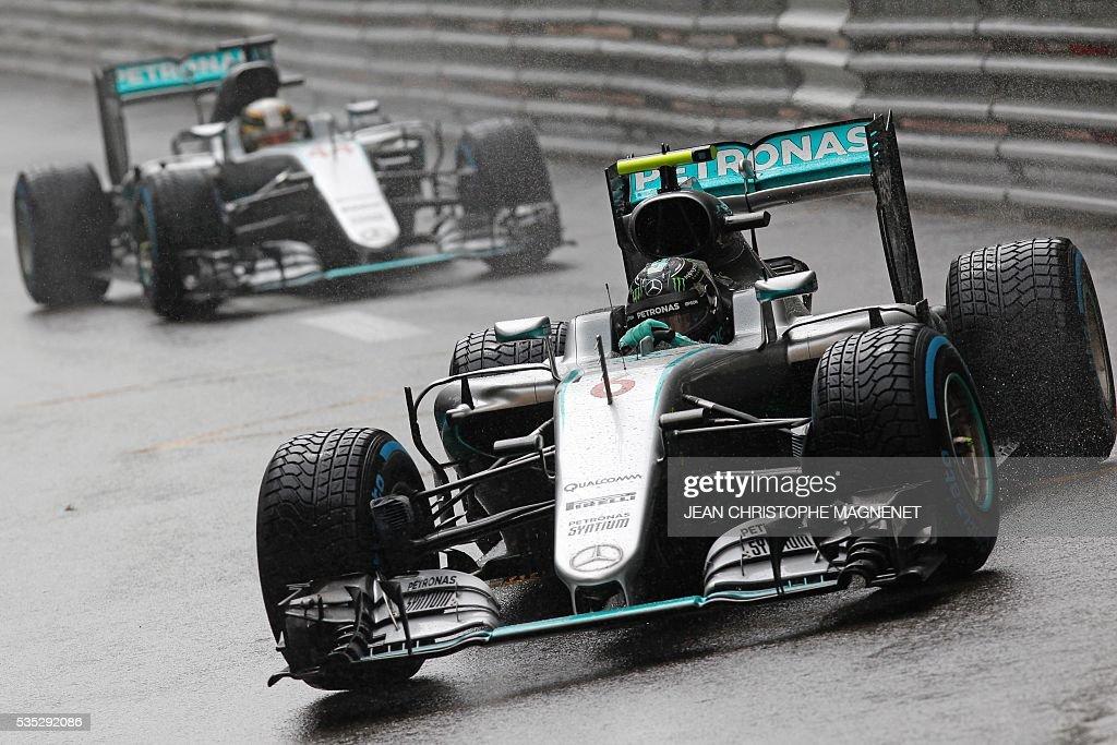 Mercedes AMG Petronas F1 Team's German driver Nico Rosberg drives at the Monaco street circuit, on May 29, 2016 in Monaco, during the Monaco Formula 1 Grand Prix. / AFP / JEAN