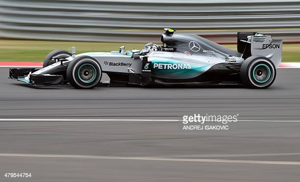 Mercedes AMG Petronas F1 Team's German driver Nico Rosberg drives during the British Formula One Grand Prix at the Silverstone circuit in Silverstone...
