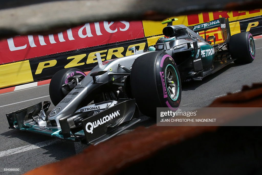 Mercedes AMG Petronas F1 Team's German driver Nico Rosberg drives during the first practice session at the Monaco street circuit, on May 26, 2016 in Monaco, three days ahead of the Monaco Formula 1 Grand Prix. / AFP / JEAN
