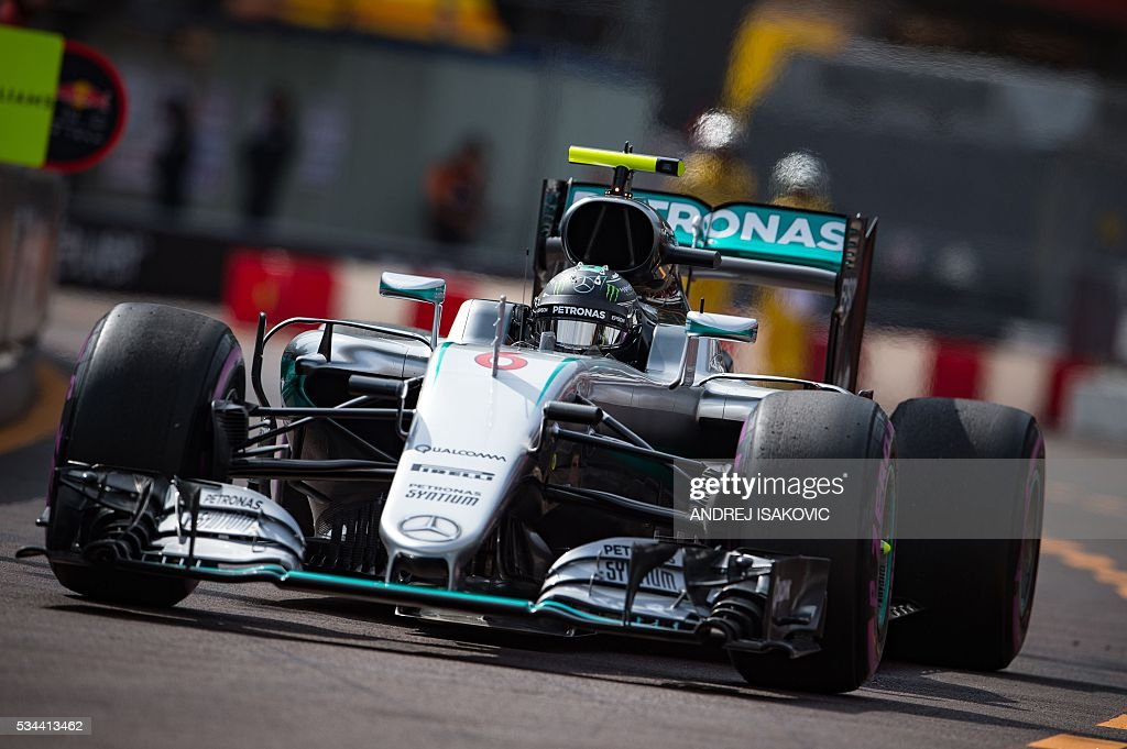 Mercedes AMG Petronas F1 Team's German driver Nico Rosberg drives during the first practice session at the Monaco street circuit, on May 26, 2016 in Monaco, three days ahead of the Monaco Formula 1 Grand Prix. / AFP / ANDREJ