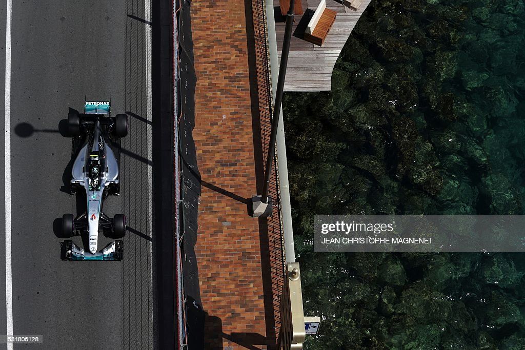 Mercedes AMG Petronas F1 Team's German driver Nico Rosberg drives during the third practice session at the Monaco street circuit, on May 28, 2016 in Monaco, one day ahead of the Monaco Formula 1 Grand Prix. / AFP / JEAN
