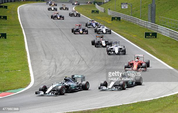 Mercedes AMG Petronas F1 Team's German driver Nico Rosberg leads the pack at the Red Bull Ring in Spielberg Austria on June 21 during the Austrian...