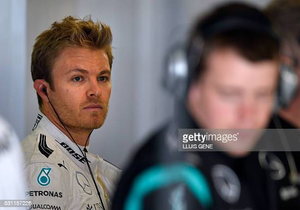 Mercedes AMG Petronas F1 Team's German driver Nico Rosberg looks on before taking part in the first practice session at the Circuit de Catalunya on...