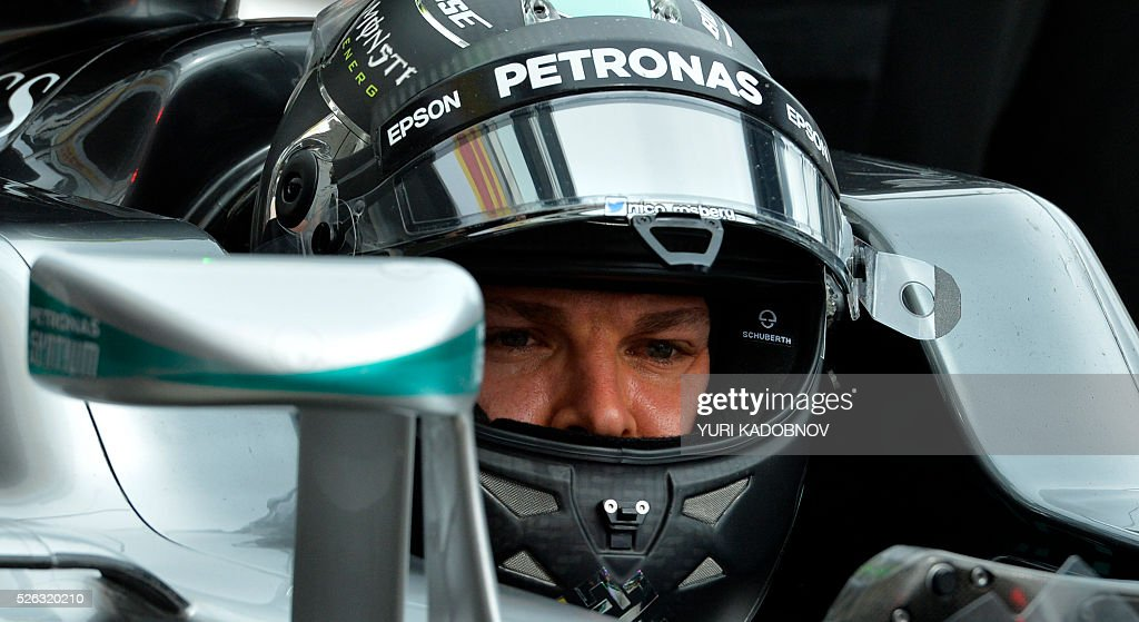 Mercedes AMG Petronas F1 Team's German driver Nico Rosberg sits in his car during the third practice session of the Formula One Russian Grand Prix at the Sochi Autodrom circuit on April 30, 2016. / AFP / YURI