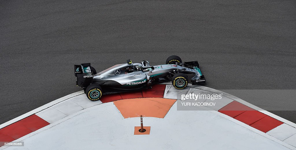 Mercedes AMG Petronas F1 Team's German driver Nico Rosberg steers his car during the first practice session of the Formula One Russian Grand Prix at the Sochi Autodrom circuit on April 29, 2016. / AFP / YURI