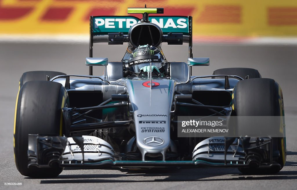 Mercedes AMG Petronas F1 Team's German driver Nico Rosberg steers his car during the second practice session of the Formula One Russian Grand Prix at the Sochi Autodrom circuit on April 29, 2016. / AFP / ALEXANDER
