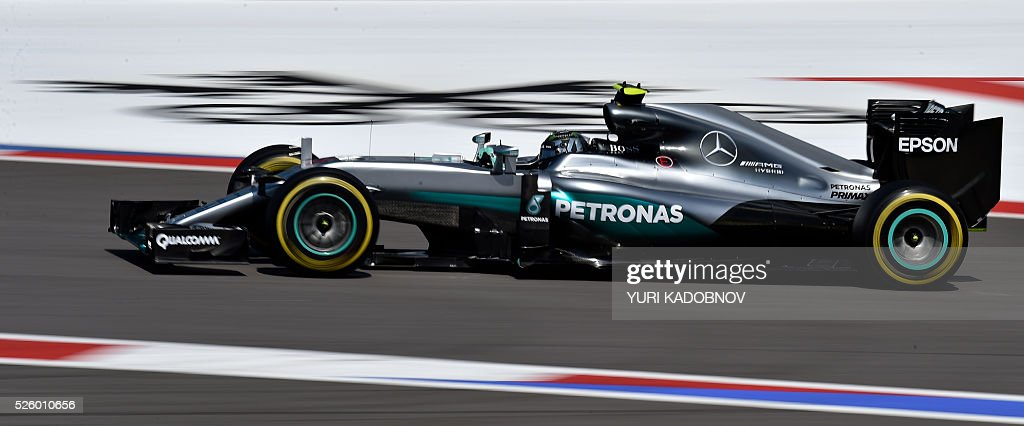 Mercedes AMG Petronas F1 Team's German driver Nico Rosberg steers his car during the second practice session of the Formula One Russian Grand Prix at the Sochi Autodrom circuit on April 29, 2016. / AFP / YURI