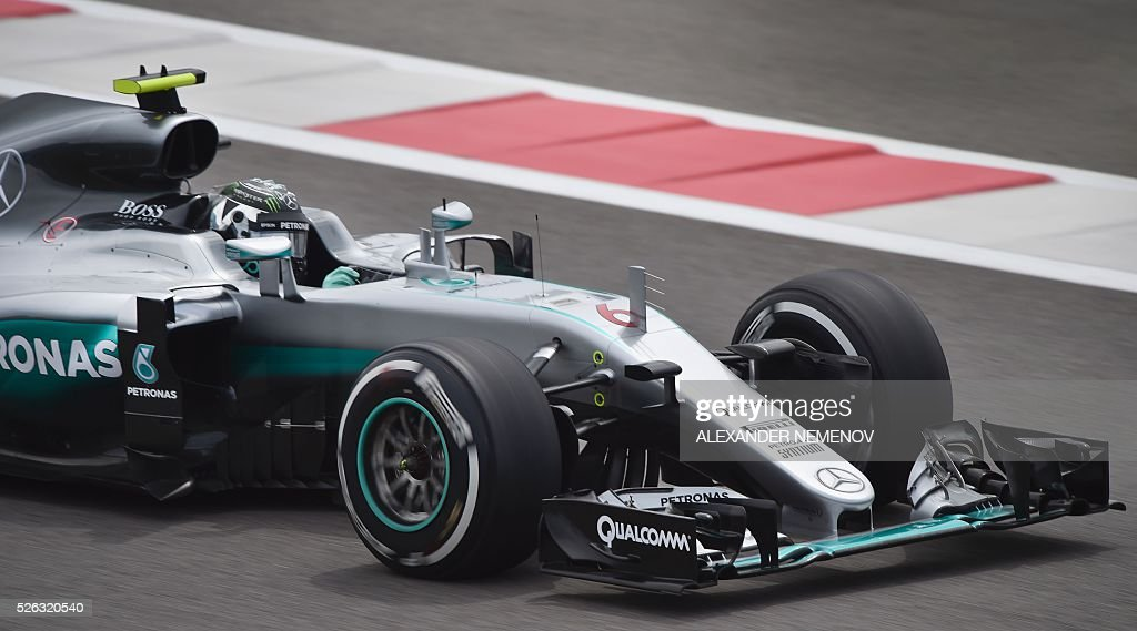 Mercedes AMG Petronas F1 Team's German driver Nico Rosberg steers his car during the third practice session of the Formula One Russian Grand Prix at the Sochi Autodrom circuit on April 30, 2016. / AFP / ALEXANDER