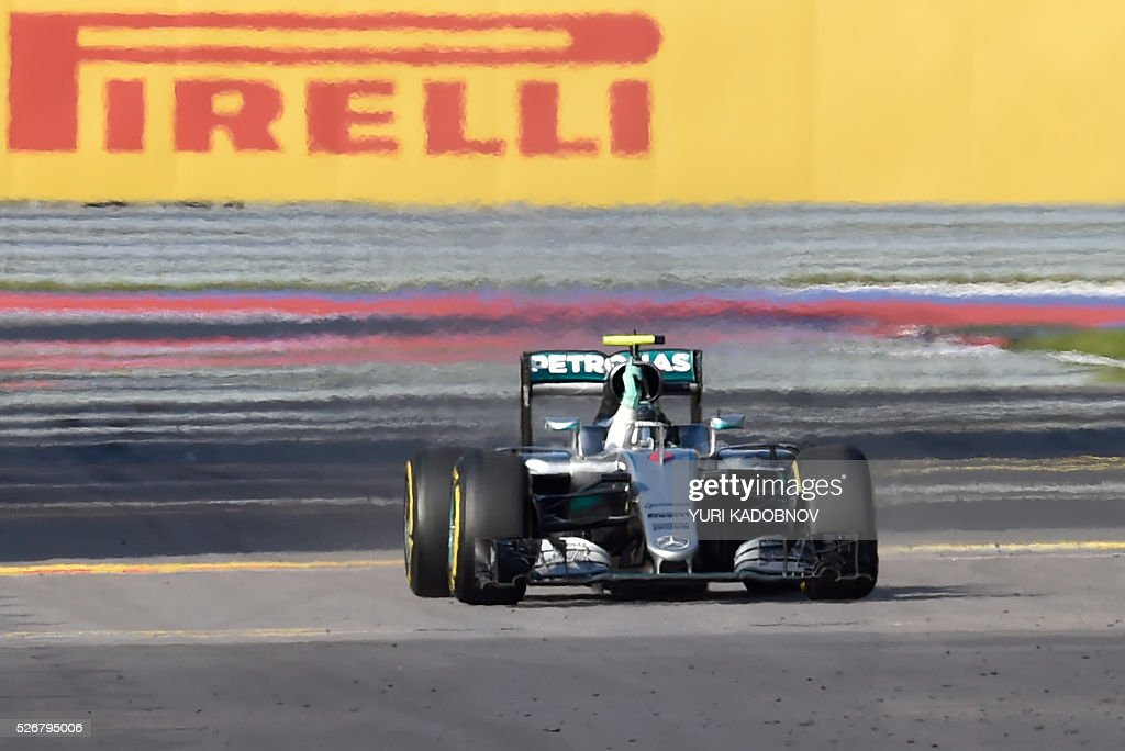 Mercedes AMG Petronas F1 Team's German driver Nico Rosberg wins the Formula One Russian Grand Prix at the Sochi Autodrom circuit on May 1, 2016. / AFP / YURI