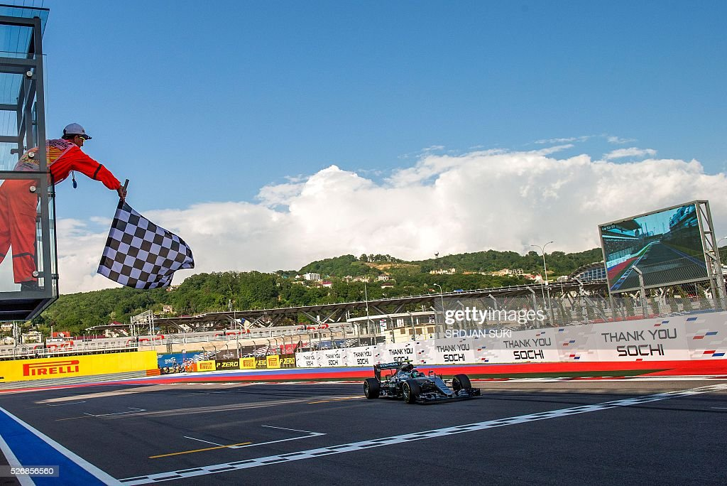 Mercedes AMG Petronas F1 Team's German driver Nico Rosberg wins the Formula One Russian Grand Prix at the Sochi Autodrom circuit on May 1, 2016. / AFP / POOL / Srdjan Suki