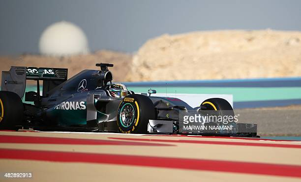 Mercedes AMG Petronas Lewis Hamilton of Britain steers his car during the third practice session of the Formula One Bahrain Grand Prix at Bahrain's...