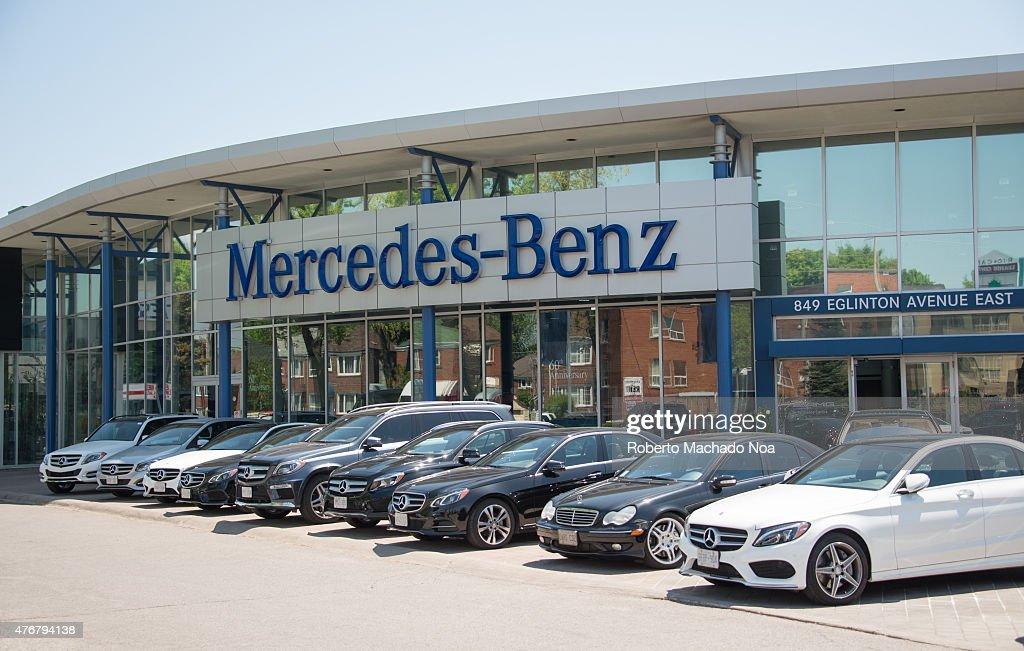 Mercedes Benz dealer in a city outdoor display of the German luxury car