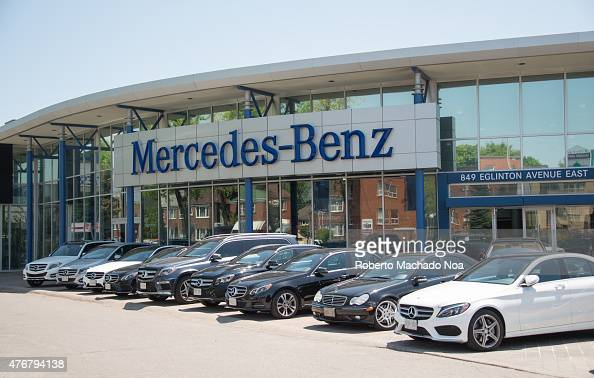 Mercedes benz dealer in a city outdoor display of the for Mercedes benz dealers in michigan