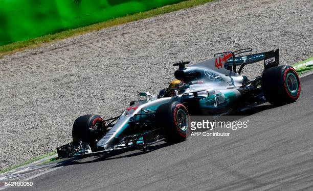 Mercedes' British driver Lewis Hamilton drives ahead at the start of the Italian Formula One Grand Prix at the Autodromo Nazionale circuit in Monza...