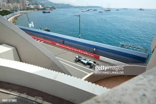 TOPSHOT Mercedes' British driver Lewis Hamilton drives during the first practice session at the Monaco street circuit on May 25 2017 in Monaco three...