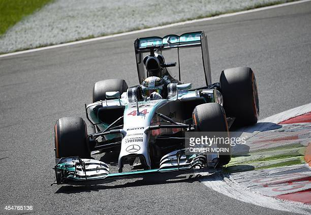 Mercedes' British driver Lewis Hamilton drives during the qualifying session at the Autodromo Nazionale circuit in Monza on September 6 ahead of the...
