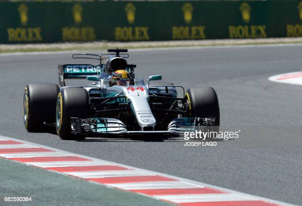 Mercedes' British driver Lewis Hamilton drives during the qualifying session at the Circuit de Catalunya on May 13 2017 in Montmelo on the outskirts...