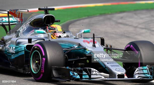 TOPSHOT Mercedes' British driver Lewis Hamilton drives during the qualifying session at the SpaFrancorchamps circuit in Spa on August 26 2017 ahead...