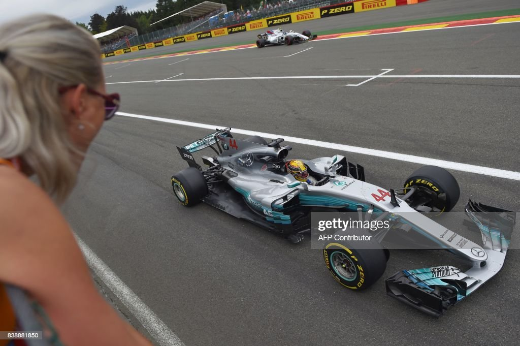TOPSHOT - Mercedes' British driver Lewis Hamilton drives during the second practice session at the Spa-Francorchamps circuit in Spa on August 25, 2017 ahead of the Belgian Formula One Grand Prix. /