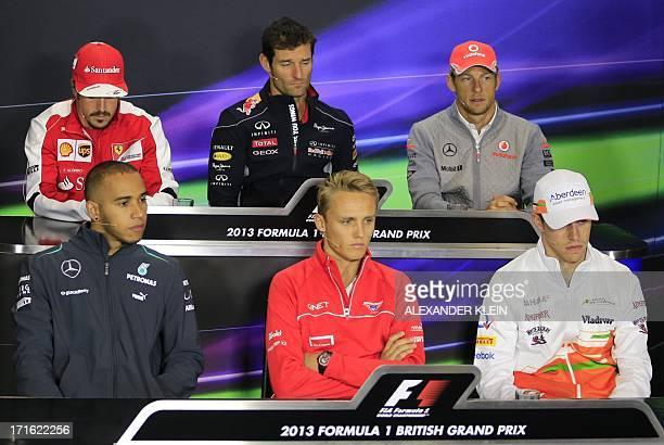 Mercedes' British driver Lewis Hamilton Ferrari's Spanish driver Fernando Alonso Red Bull Racing's Australian driver Mark Webber Marussia F1 Team's...