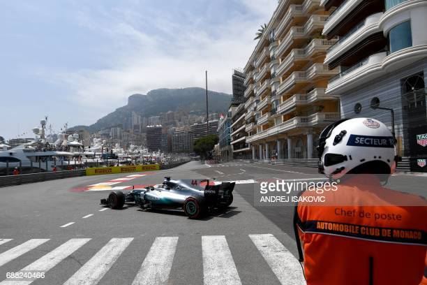 TOPSHOT Mercedes' British driver Lewis Hamilton steers his car during the second practice session at the Monaco street circuit on May 25 2017 in...