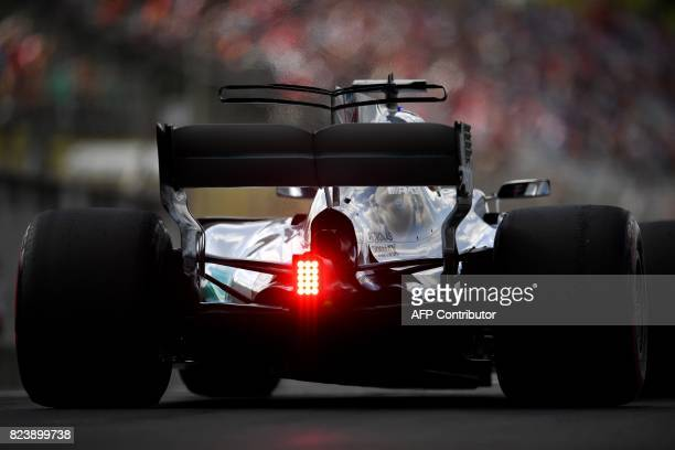 TOPSHOT Mercedes' British driver Lewis Hamilton takes part in a practice session at the Hungaroring racing circuit in Budapest on July 28 2017 prior...