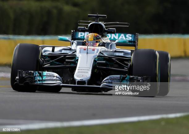 Mercedes' British driver Lewis Hamilton takes part in a practice session at the Hungaroring racing circuit in Budapest on July 28 2017 prior to the...