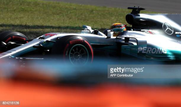 TOPSHOT Mercedes' British driver Lewis Hamilton takes part in the qualifying at the Hungaroring racing circuit in Budapest on July 29 2017 prior to...